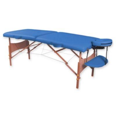 Lettino Pieghevole Da Massaggio.Lettino Da Massaggio A 2 Sezioni Blu In Legno
