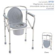 Sedia comoda WC in alluminio - 4 funzioni / Pieghevole RP781