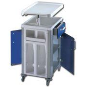 Comodino da degenza bifronte - 1 cassetto e tavolino servipranzo