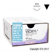 Sutura assorbibile Ethicon VICRYL V385H - USP 5-0,Ago 3/8 C-3 mm 13 - Viola (Conf. 36 pz.)