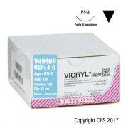 Sutura assorbibile Ethicon VICRYL Rapide V4960H - USP 4-0,Ago 3/8 PS-2 mm 19 - Bianco (Conf. 36 pz.)
