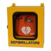 Armadietto per defibrillatore da esterno con termoregolatore