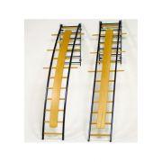 Scala ortopedica curva in metallo e legno